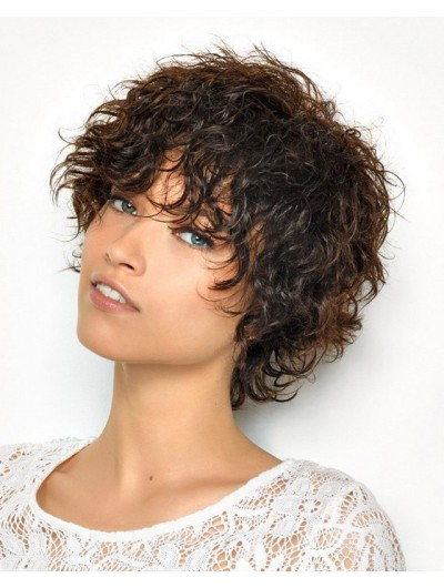 Saint Algue Short Brown Curly Hairstyles Wig