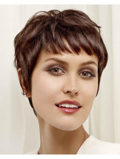 Remy Human Short Fringe In Brown Wig