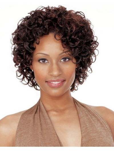 Short Afro Curly Hairstyles Capless Wig