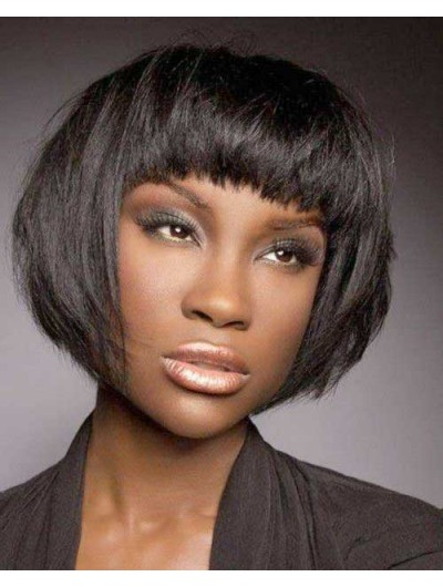Short Bob African American Straight Wig