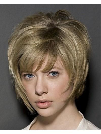 Synthetic Short Bob Haircut Wig With Bangs