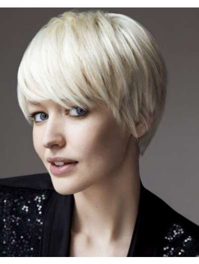Short Bob Hairstyle With Bangs For Thin Hair Wig
