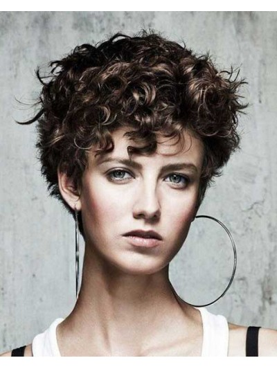 Curly Capless Short Synthetic Hair Wig With Bangs