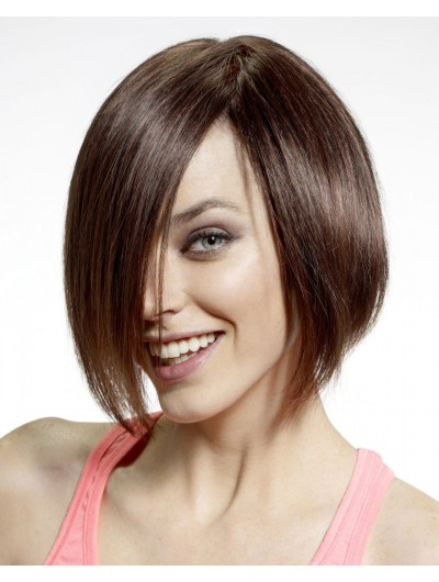 Capless Short Remy Human Hair Bobs Brown Wig