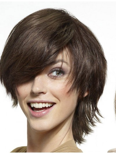 Straight Capless Short Remy Human Hair Wig With Bangs