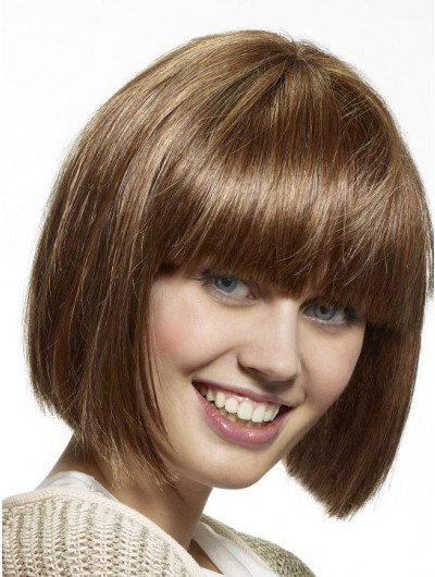 Capless Short Synthetic Hair Bobs Straight Wig