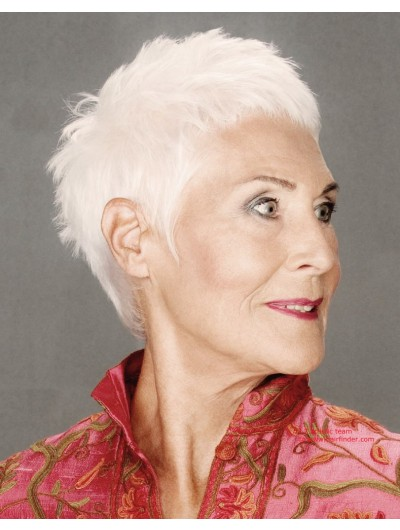 Straight Capless Short Haircut Wig Older Women
