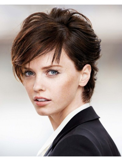 Short Remy Human Hair Without Bangs Brown Wig
