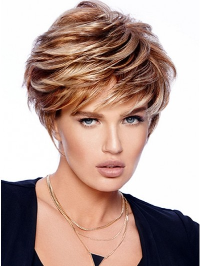 Straight Capless Short Synthetic Hair Layered Wig