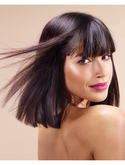 Capless Medium Synthetic Hair Straight Wig With Bangs
