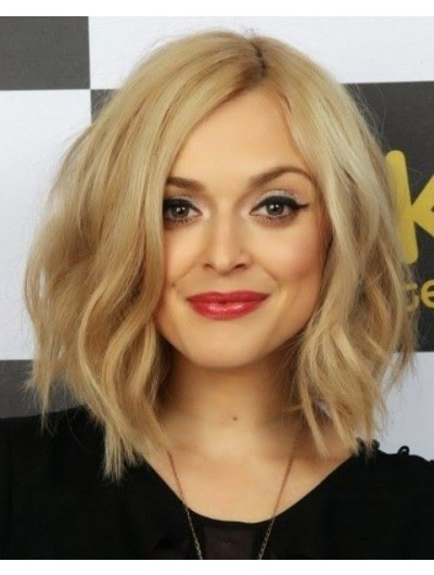 Lace Front Shoulder Length Synthetic Hair Wig Without Bangs