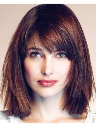 Capless Medium Remy Human Hair Straight Wig With Bangs