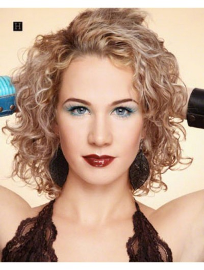 Full Lace Medium Synthetic Hair Curly Blonde Wig