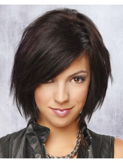 Capless Medium Remy Human Hair Straight Black Bobs Wig