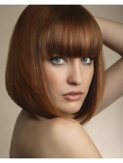 Capless Medium Remy Human Hair Straight Brown Bobs Wig