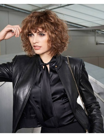 Capless Medium Synthetic Hair Curly Brown Wig