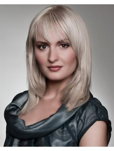 Capless Medium Synthetic Hair Straight Gray Wig