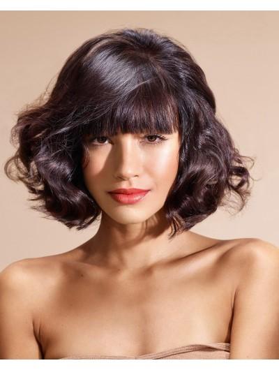 Capless Medium Synthetic Hair Wavy Auburn Wig