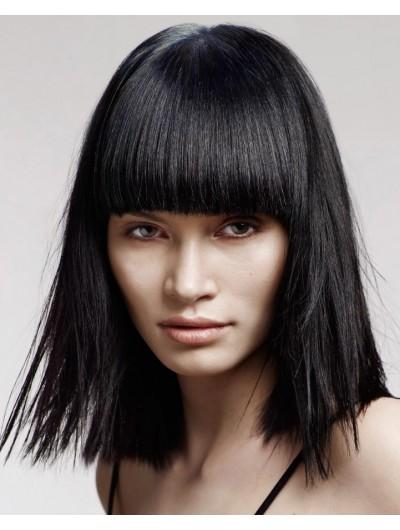 Capless Medium Synthetic Hair Straight Black Wig