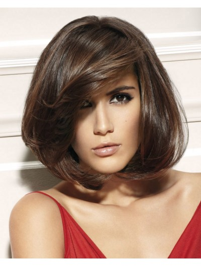 Capless Medium Synthetic Hair Wavy Brown Bobs Wig