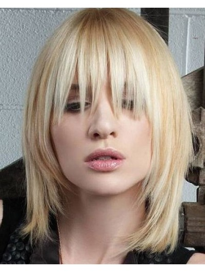 Capless Medium Synthetic Hair Straight Blonde Wig