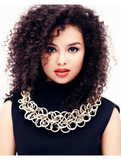 Full Lace Medium Synthetic Hair Curly Auburn Afro Wig