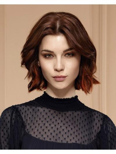 Lace Front Medium Remy Human Hair Wavy Auburn Wig