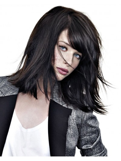 Capless Medium Synthetic Hair Straight Black Layered Wig