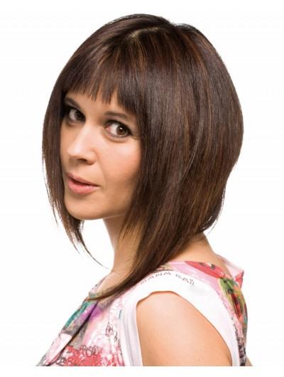 Capless Medium Synthetic Hair Straight Brown Wig