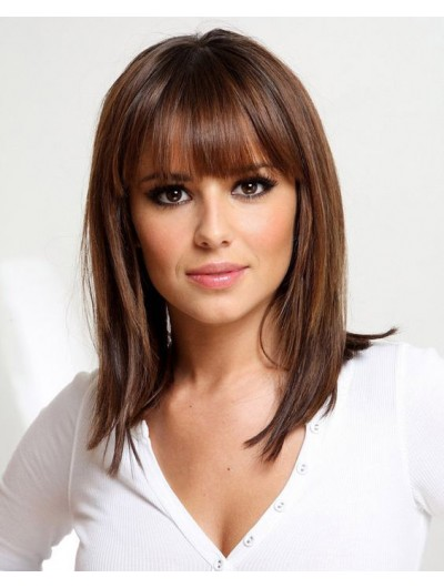 Capless Medium Remy Human Hair Straight Brown Classic Wig