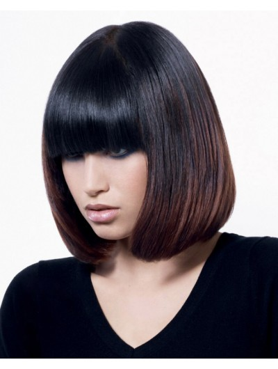 Capless Medium Synthetic Hair Straight Black Bobs Wig
