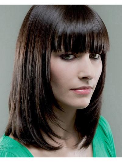 Capless Medium Remy Human Hair Straight Brown Wig