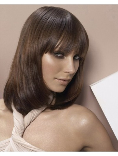Capless Medium Remy Human Hair Straight Brown Wig