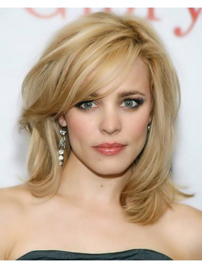 Capless Medium Remy Human Hair Wavy Blonde Wig