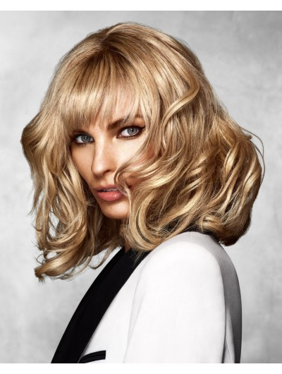 Capless Medium Synthetic Hair Wavy Blonde Wig With Bangs