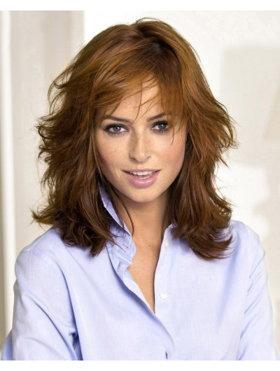 Capless Medium Synthetic Hair Wavy Brown Wig With Bangs