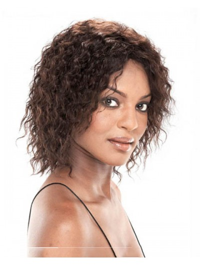 Capless Medium Synthetic Hair Curly Auburn Bobs Wig