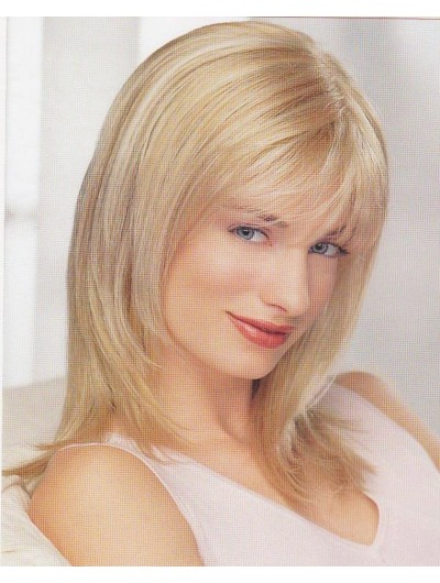 Capless Medium Synthetic Hair Straight Blonde Wig With Bangs
