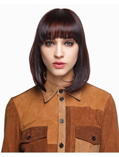 Capless Medium Synthetic Hair Wavy Auburn Wig With Bangs