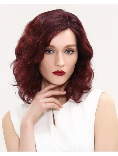 Lace Front Medium Remy Human Hair Wavy Wig Without Bangs