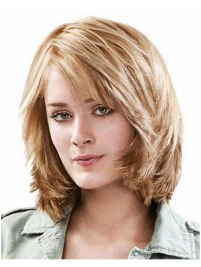 Capless Medium Synthetic Hair Straight Blonde Bobs Wig