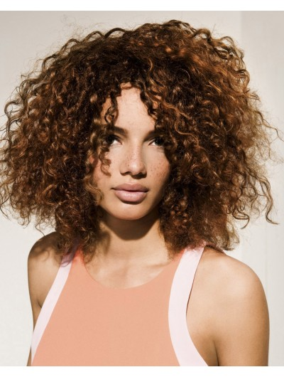 Capless Medium Synthetic Hair Curly Brown Afro Wig