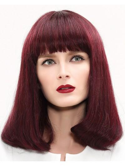 Capless Medium Remy Human Hair Wavy Auburn Wig With Bangs