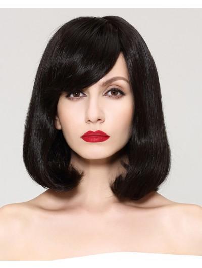 Capless Medium Synthetic Hair Wavy Black Bobs Wig