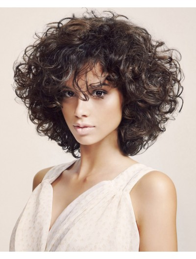 Capless Medium Synthetic Hair Curly Brown Wig With Bangs