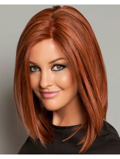 Lace Front Medium Synthetic Hair Straight Auburn Classic Wig