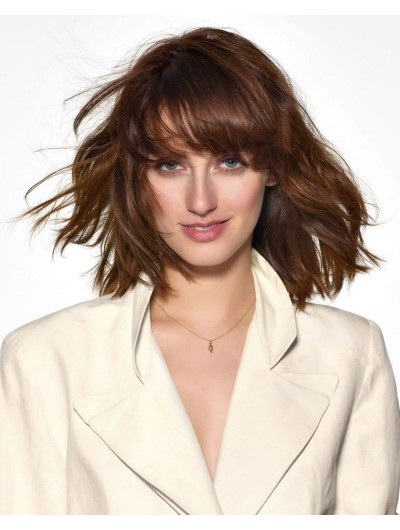 Capless Medium Synthetic Hair Wavy Auburn Wig With Bangs
