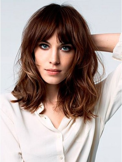 Capless Long Synthetic Hair Wavy Wig With Bangs