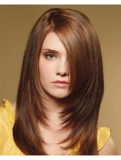 Lace Front Long Synthetic Hair Straight Brown Wig With Bangs