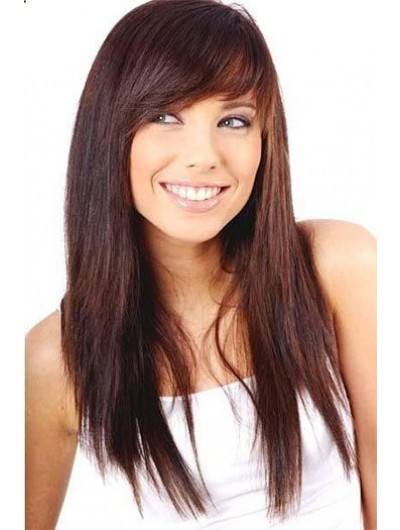 Capless Long Synthetic Hair Straight Auburn Wig With Bangs